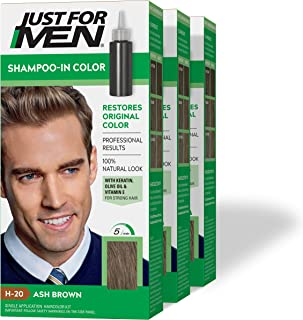 Just For Men Shampoo-In Color (Formerly Original Formula), Gray Hair Coloring for Men - Ash Brown, H-20, Pack of 3 (Packaging May Vary)