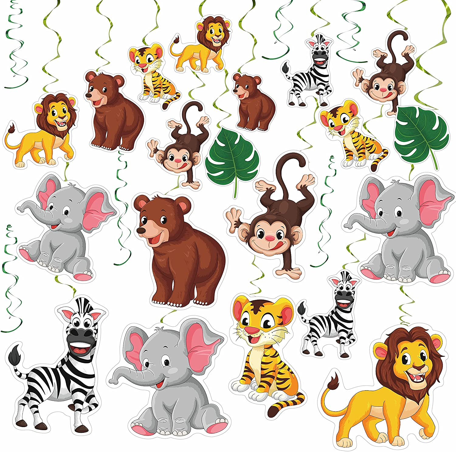 20 Pieces Jungle Animal Party Swirls Decorations Ceiling Hanging Animal Theme Party Supplies for Birthday Baby Shower Decor Event
