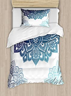 Ambesonne Flora Duvet Cover Set, South Mandala Design with Vibrant Color Ornamental Illustration, Decorative 2 Piece Bedding Set with 1 Pillow Sham, Twin Size, Blue
