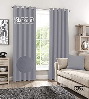 BERYHOME Shadow Blackout Window Curtains, Privacy Drapes for Living Room or Bedroom, Set of 2 Panels 52 x 90 inches