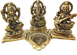 Trendy Crafts Laxmi Ganesh Saraswati Idol - Decorative Platter with Diya Antique Showpiece Set for Worship,Gift and Home D...