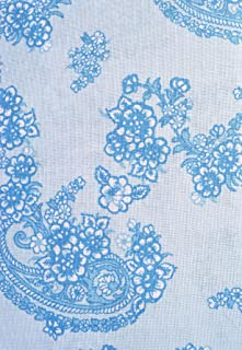 Laura Ashley Blue and White Floral Paisley Fabric Shower Curtain 100% Cotton 72