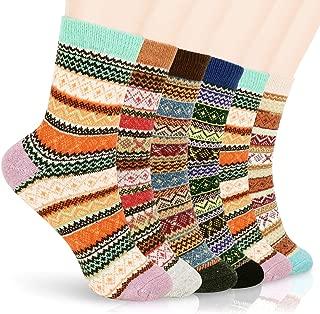 Womens Wool Socks Winter Socks, Homga Womens Winter Soft Warm Thick Knit Wool Vintage Crew Socks Gifts