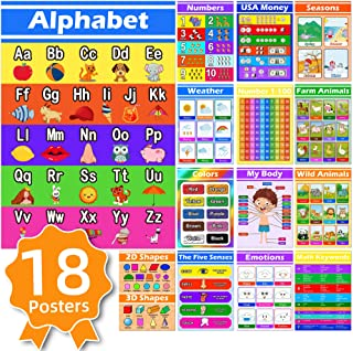 18 Educational Posters for Preschoolers Classroom - Learning Decor for Kids Toddlers Homeschool Kindergarten Elementary Ed...