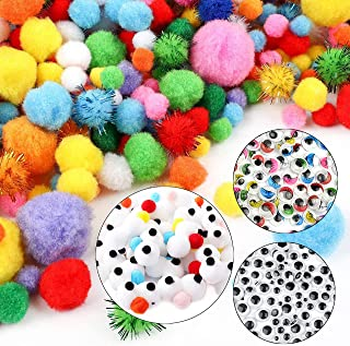 GOTONE 2000PCS Pom Poms Glitter Balls in Multicolor & Multiple Sizes + 100PCS Black + 100PCS Multicolor Wiggle Googly Eyes...