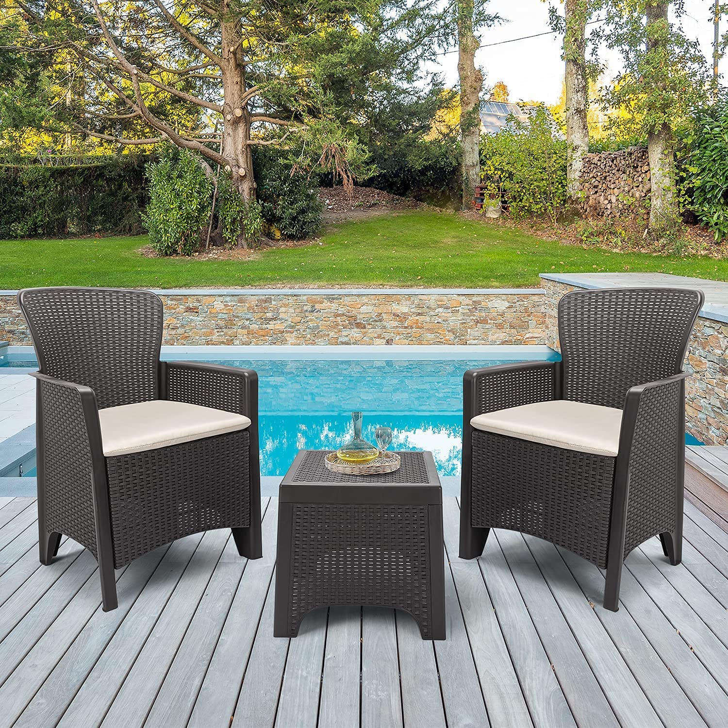 Wicker Patio Furniture Don't miss the campaign Set Outdoor Finally popular brand Furgle Sets 3-Piec