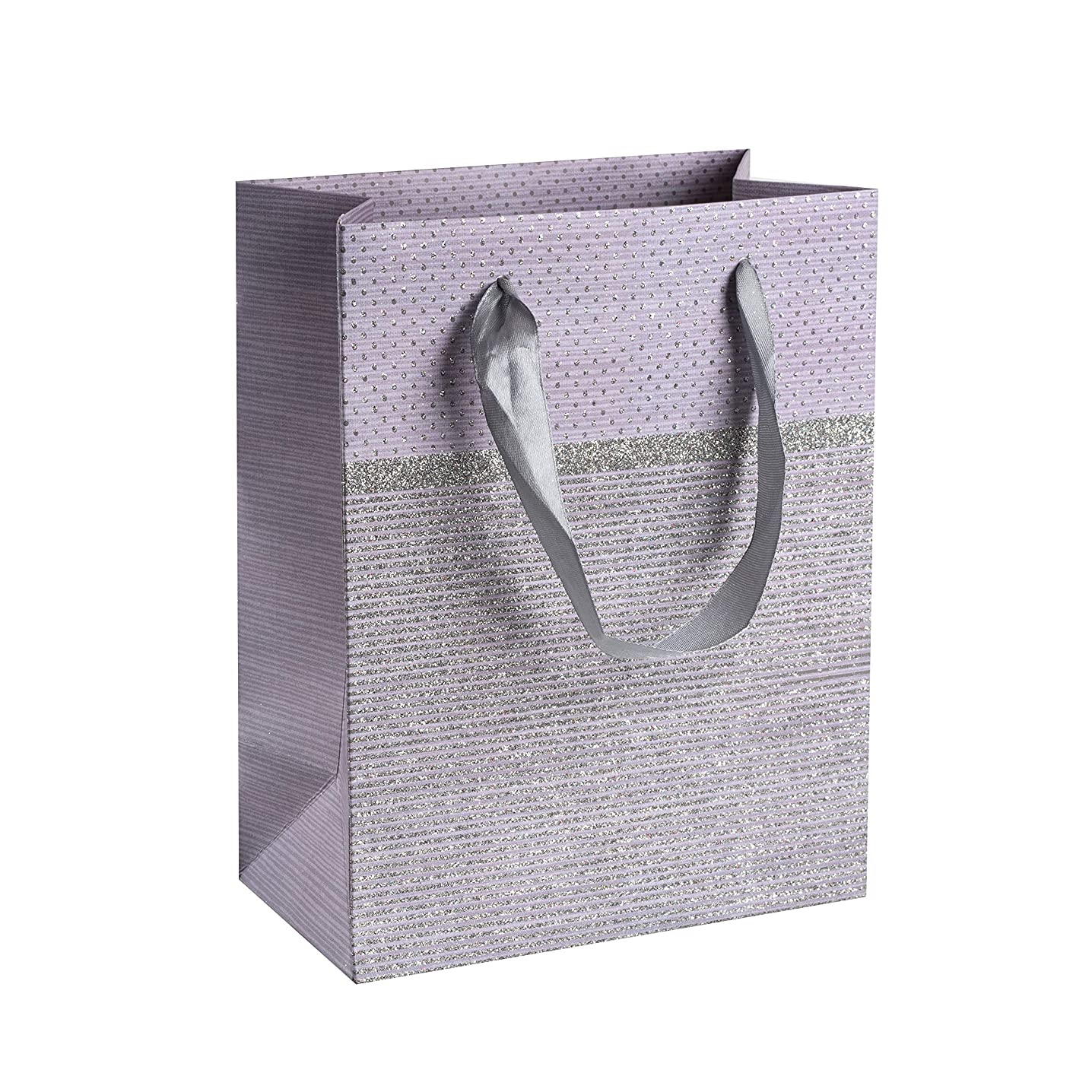 """Sparkling Glitter Gift Bags (12 Pack) - 9""""x 7""""x 4"""" Dotted Paper Bag with Durable Ribbon Handles, Beautiful Present Bags Best for Birthday, Wedding and Party Favors (Purple)"""