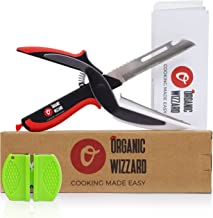 Organic Wizzard Kitchen Knife with Cutting Board and Finger Guard, 6 in 1 Universal Scissors Food Chopper, Slicer, Cutter, Dicer for Vegetables Fruits Meat and Cheese [Upgraded Version] (Color1)
