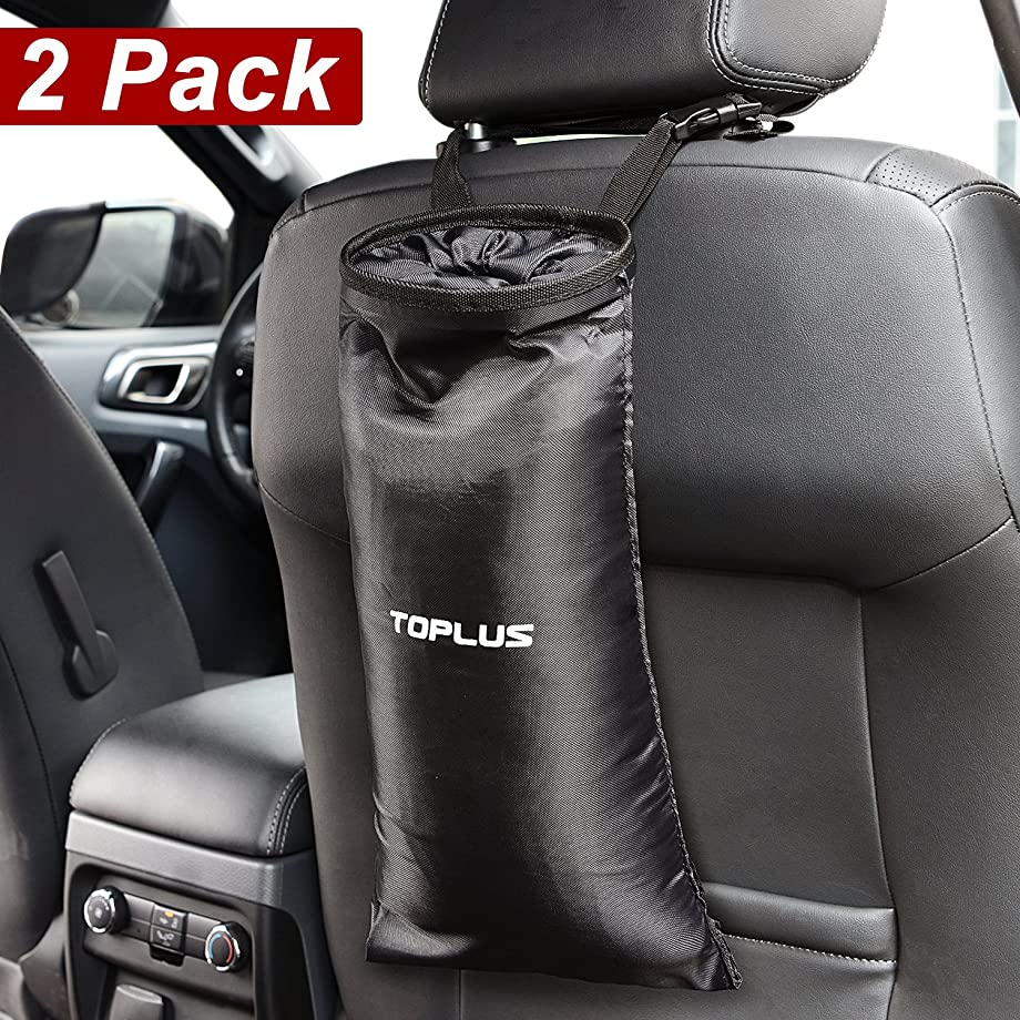 Toplus 2 PACK Car Trash Bags, Space Saving Car Garbage Can Container Washable Leakproof Eco-friendly Seatback Truck Hanging bags for Travelling, Outdoor, Home and Vehicle Use