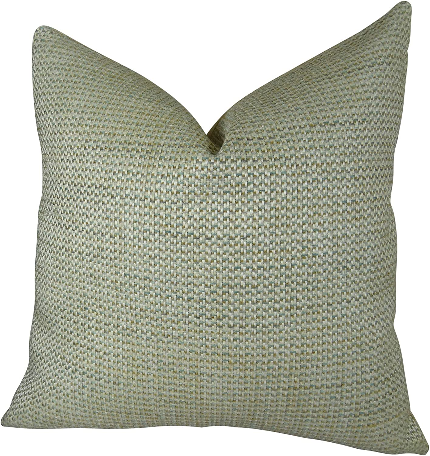 Thomas Collection Handmade in USA Luxury Decorative Pillow for Couch Sofa Bed, Made in USA Pillow Insert & Cover, Light Green Solid Pillow  11340