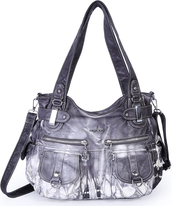 Bleu2 Angelkiss 2 fermetures /à glissi/ère sup/érieures sacs /à main multi poches sacs /à main en cuir lav/é sacs /à bandouli/ère 5739//1