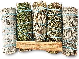 Sponsored Ad - Sage Variety Smudge Kit - 6 Smudging Sages - White Sage, Blue Sage, Yerba Santa, Cedar, Juniper & Palo Sant...