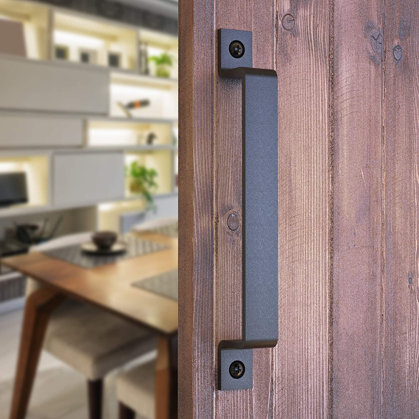 Barn Door Handle | Black 10 inch Solid Steel Gate Handle | Pull for Sliding Barn Doors Gates Garages Sheds