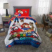 Franco Kids Bedding Super Soft Comforter with Sheets and Plush Cuddle Pillow Set, 5 Piece Twin Size, Mario Odyssey