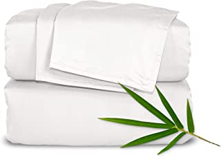 """Pure Bamboo Sheets - King Size Bed Sheets 4pc Set - 100% Organic Bamboo - Incredibly Soft Breathable Fabric - Fits Up to 16"""" Mattress - 1 Fitted Sheet, 1 Flat Sheet, 2 Pillowcases (King, White)"""
