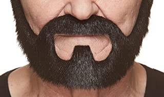 Mustaches Self Adhesive, Novelty, On Bail Fake Beard, False Facial Hair, Costume Accessory for Adults, Black Lustrous Color