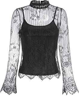 Women's Lace Mesh Blouses +Including Sleeveless Premium Rayon Span Jersey Camisol Top Knit Shirts, 9045T
