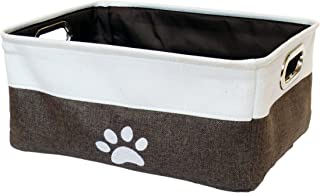 "Winifred & Lily Pet Toy and Accessory Storage Bin,  Organizer Storage Basket for Pet Toys,  Blankets,  Leashes and Food in Embroidered ""Paws"",  Beige/Brown"