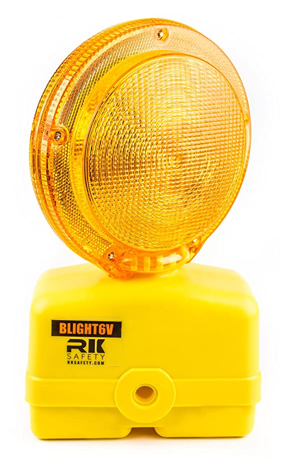 RK BLIGHT6V-1 Premium 03-10-3WAY6V Polycarbonate Barricade Light, 2-sided Visibility, Photocell, UV Coated