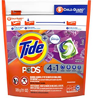 Tide PODS 4 in 1, Plus Febreze, Laundry Detergent Liquid Pacs, Spring & Renewal, 12 Count - Packaging May Vary