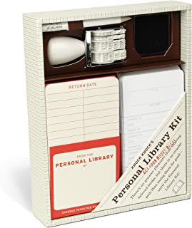 Knock Knock Original Personal Library Kit & Gift for Book Lovers - Card Catalog Checkout Cards, Bookplates, Date Stamp & Inkpad