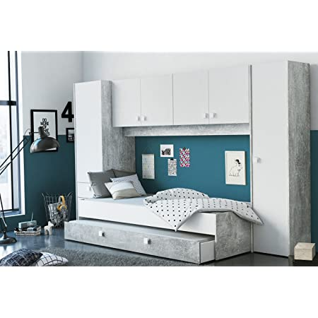 Miroytengo Pack Dormitorio Juvenil Estilo Industrial Compuesto por Cama con cajonera somier y colchon no Incluido y Amplio Armario Puente