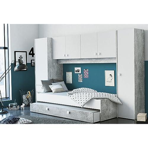 Miroytengo Pack Dormitorio Juvenil Estilo Industrial Compuesto por Cama con cajonera somier y colchon no Incluido