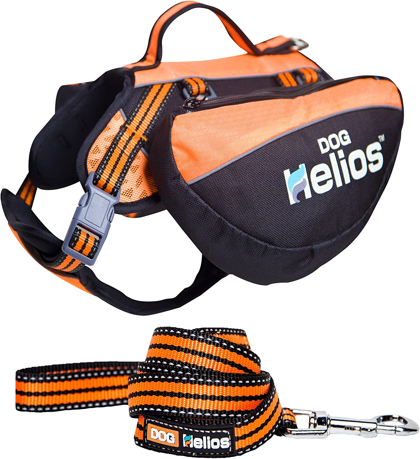 DOGHELIOS Freestyle 3in1 Explorer Sporty Fashion Congreenible Pet Dog Backpack, Harness and Leash, Large, orange
