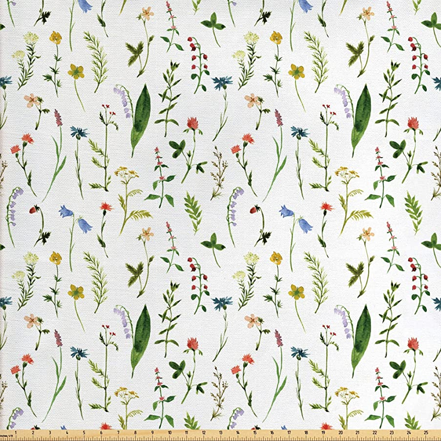 Lunarable Doodle Fabric by The Yard, Flourishing Spring Meadow with Various Wildflowers Nature Themed Watercolor Art, Decorative Fabric for Upholstery and Home Accents, 2 Yards, Multicolor