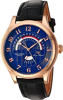 Lucien Piccard Men's The The Capital Stainless Steel Japanese-Quartz Watch with Leather-Calfskin Strap, Black, 22 (Model: LP-40050-RG-03