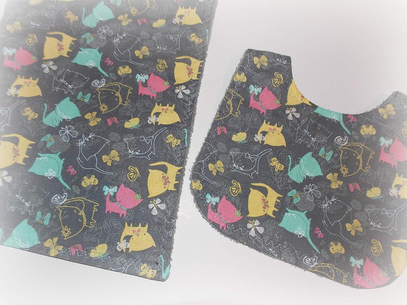Handmade girl baby bib and burp cloth with kitty cat fabric