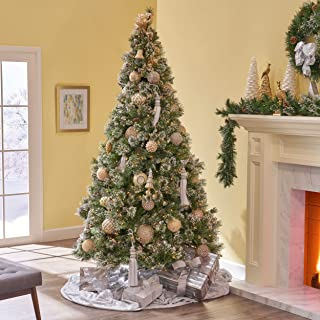 Christopher Knight Home 307343 7-Foot Mixed Spruce Pre-Lit or Unlit Hinged Artificial Christmas Tree with Snow and Glitter Branches with Frosted Pinecones, Green + Multi Lights