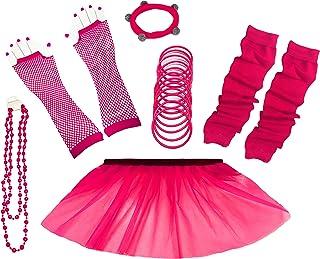A-Express 80er Damen Neon Tütü Rock Ebene Beinstulpen Handschuhe Halskette Tüll Fluo Ballett Verkleidung Party Tutu Rock Kostüm Set (36-44, Rosa)