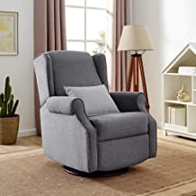 Classic Brands Expo Lovel Popstitch Upholstered Glider Swivel Rocker Chair, Grey