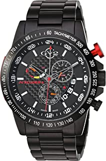 by Gevril Scuderia Mens Chronograph Swiss Quartz Alarm GMT Black Stainless Steel Sports Racing Watch, (Model: 9900B)