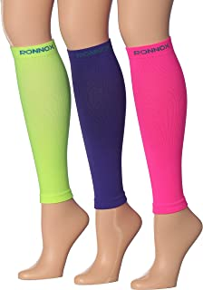 Ronnox Women`s 3-Pairs Bright Colored Calf Compression Tube Sleeves (16-20 mmHg / 12-14 mmHg Great for Athletic & Medical Use