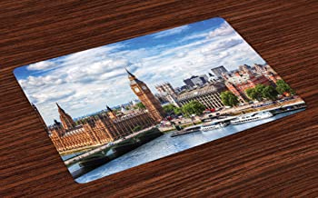 Lunarable London Place Mats Set of 4, Extensive Cityscape with Big Ben Westminster Bridge on River Thames and Clouds Image, Washable Fabric Placemats for Dining Room Kitchen Table Decor, Multicolor