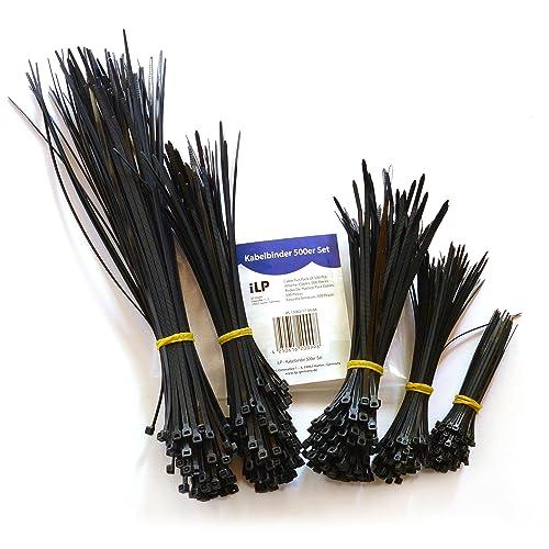 Colliers de serrage iLP – kit de 500 - 100x100/150/180/200/300mm chacun – colliers de serrage multi-usages pour maintenir en place les câbles et fils, de manière sûre et permanente – résistants aux UV