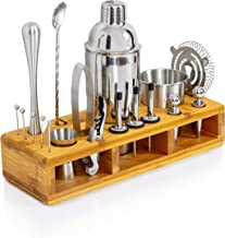 Maxam 24 Piece Stainless Steel Bar Mixer Set - Home Bartender and Cocktail Kit with Shaker, Ice Tongs, Muddler, Mixing Spo...
