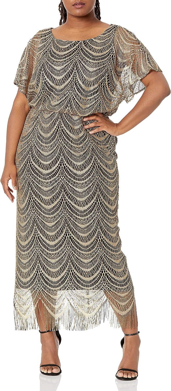S.L. Fashions Women's Metallic Finally popular brand Crochet Plus Miss and Ranking TOP17 Size Dress
