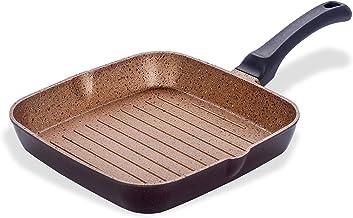 Sumeet Non Induction Base Non Stick Aluminium Grill Pan, Peach