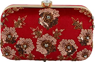 Tooba Women's Clutch (red antique sequins flower 6x4_Red)