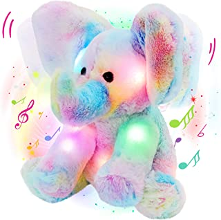 Glow Guards 12'' Light up Musical Electric Elephant Rainbow Plush Soft Toy Stuffed Animal Lullaby Night Light Interactive ...