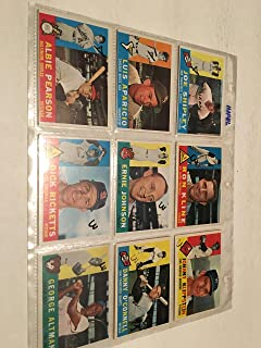 8 1960 TOPPS BASEBALL CARDS IN PROTECTOR SHEETS SET 191-241