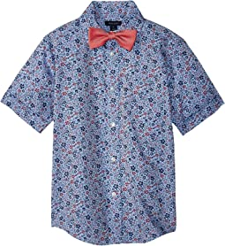 Short Sleeve Floral Print w/ Bow Tie (Big Kids)