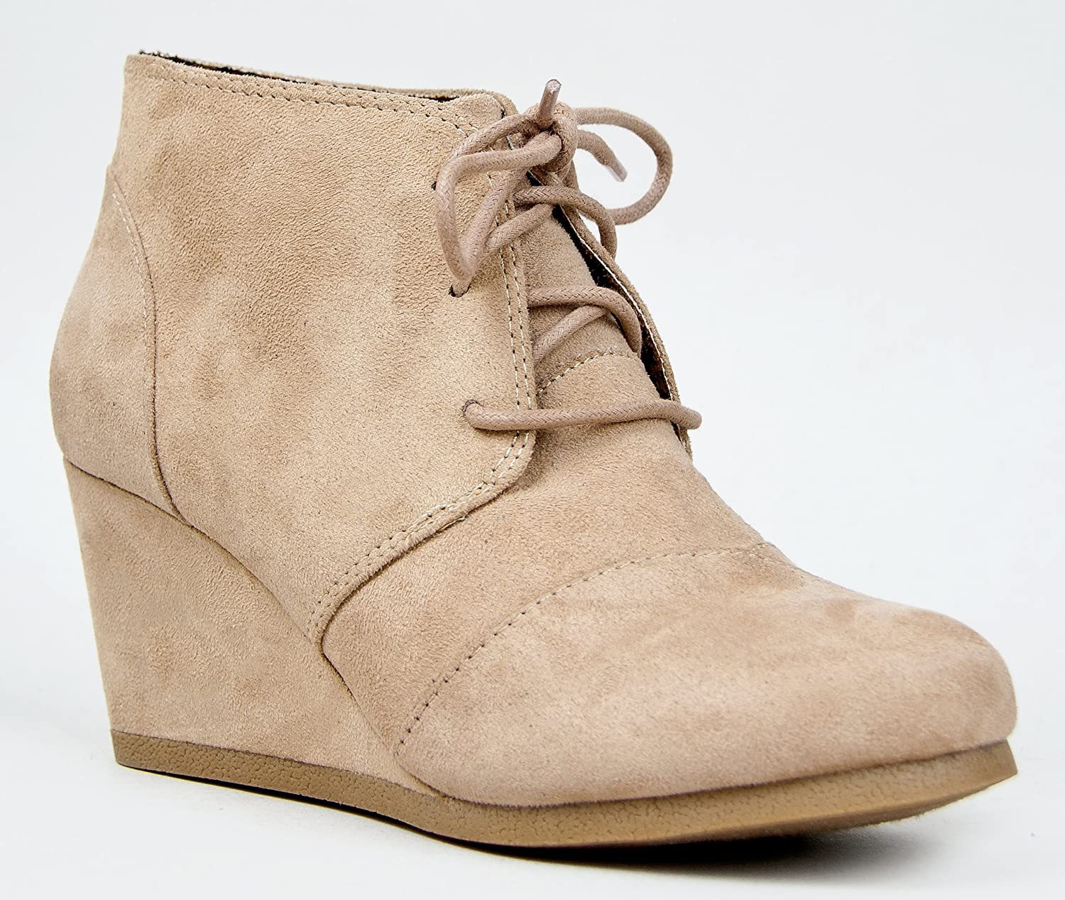 Rex Lace Up Ankle Bootie Wedge,Taupe Isu,7.5