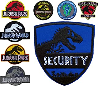 Outlander Gear Jurassic Park Movie (8-Pack) Assortment of Embroidered Iron/Sew-on Applique Patches