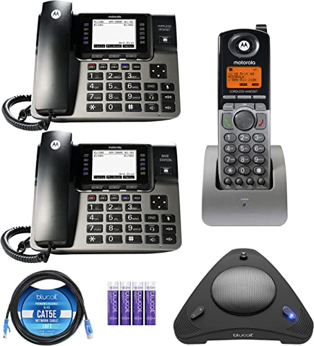 discount Motorola ML1002S DECT 6.0 Expandable 1 to 4 Lines Business Phone System with Voicemail, Digital lowest Receptionist Bundle with 2021 Blucoil 4 AAA Batteries, 10' Cat5 Cable, and USB Conference Speakerphone outlet online sale