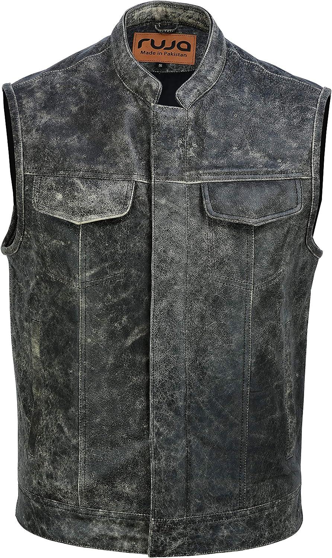 Ruja Men's SOA Style Vintage Classic Leather Vest, Black