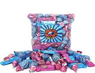 Gender Reveal Chocolate Treats Blue Pink Wrap - Hershey's Kisses Milk Chocolate, Kisses Caramel, Blue Pink Reese's Miniatures, Kit Kat Miniatures, Rolo Chewy Caramel - Baby Shower Candy Bulk, 3Lbs